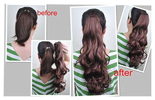 Beauty Wig World 21 inches 55cm 100g Two Tone Long Wavy Curly Woman Claw Clip Ponytail Clip on/in Hair Extensions #10T16 Light Brown/ Light Blonden by Onedor Ponytail (Image #2)