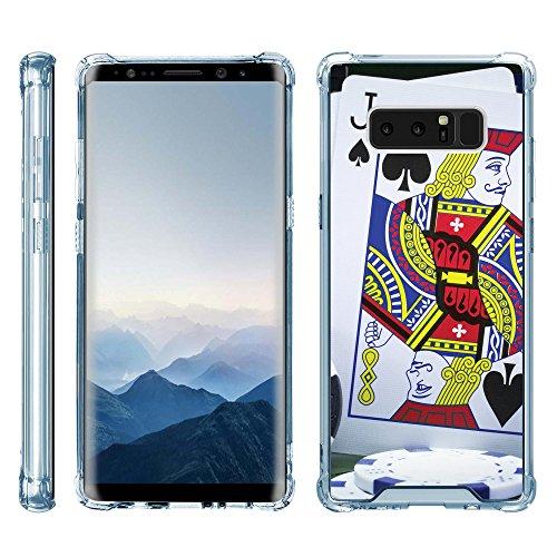 Samsung Blackjack Phone Covers (TurtleArmor   Samsung Galaxy Note 8 Case   N950 [Flexible Armor] Slim TPU Hard Plastic Back Cover Shock Bumper Case with Blue Edges Gambling Casino Design - Blackjack)
