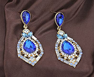 Hot Sale Litetao Womens Girls Bohemia Earrings Sparkling Crystal Teardrop Dangle Rhinestone Stud Earrings Wedding Engagement Jewelry Gift