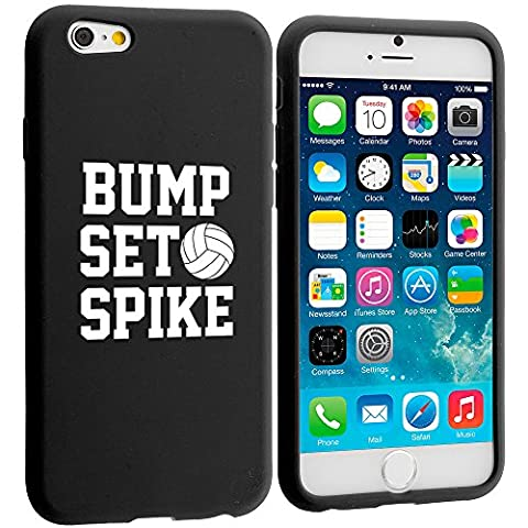 Apple iPhone 6 6s Silicone Soft Rubber Skin Case Cover Bump Set Spike Volleyball (Black) (Rubber Spike Phone Case)