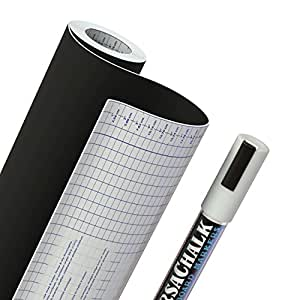"Chalkboard Vinyl Contact Paper + BONUS Chalk Marker - 18"" W x 96"" L (8 FEET) - 33% more than other brands!"