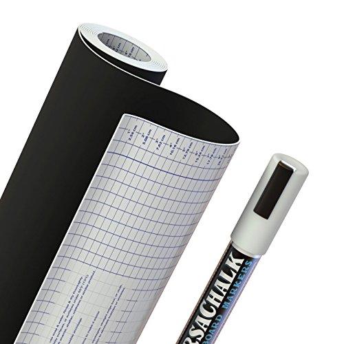 "Chalkboard Vinyl Contact Paper + BONUS Chalk Marker - 18"" W x 96"" L (8 FEET) - 33% more than other brands!"