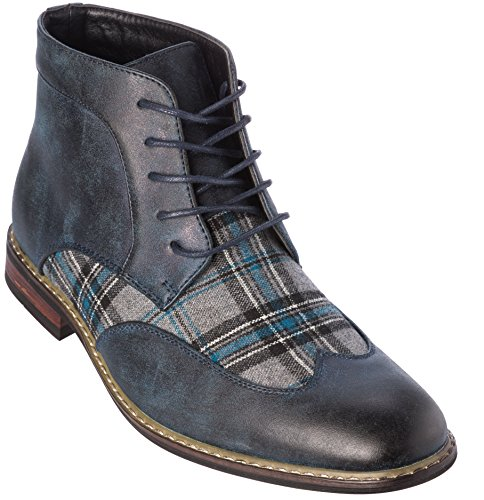 titan04h Mens Lace-Up Oxford Style Combat Boots Navy-Grey Dress-Shoes Size 11 - Granny Combat Boots