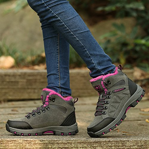 Bomkin Dames En Heren Wandelschoenen Waterdicht Winter Sneaker Anti-slip Wandelschoenen Outdoor Backpacken Schoenen Grijs Roze