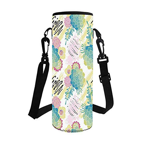 Succulent Stylish Bottle Sleeve,Floral Corsage Pattern with Brushstrokes Colorful Flourish Foliage Summer Field Decorative for Bottle & Vacuum Cup,3.1''L x 3.1''W x 7.4''H