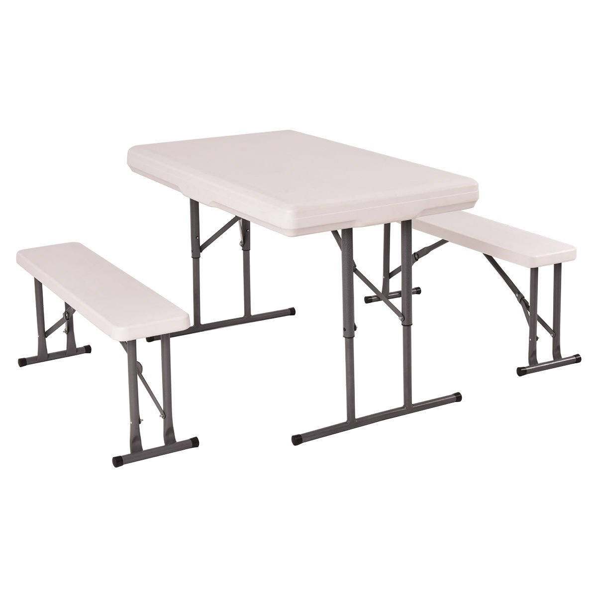 BUY JOY Table and Benches Set Chair Seat Folding Picnic Patio Garden Outdoor Furniture