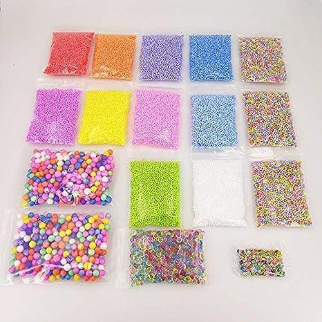 Mimagogo Kit de 17 Paquete de Cuentas Cuentas de limo pecera de espuma Bolas rebanadas de la fruta DIY limo: Amazon.es: Hogar
