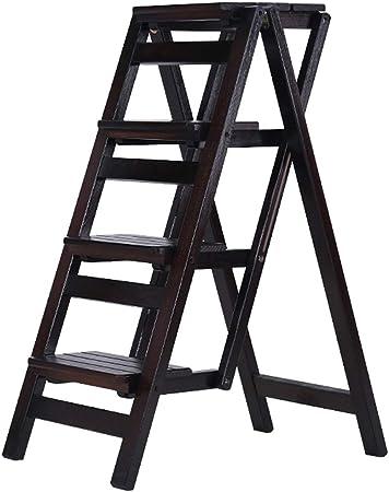 De Madera Escalera de Tijera Estante de Flores Interior Multifuncional Escalera Madera Maciza Silla de Escalera Casa 3/4 Pasos Plegable Taburete (De Color Negro): Amazon.es: Hogar