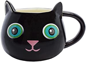 Streamline Fine Feline Ceramic Cat Coffee Cup Mug - Black Kitty