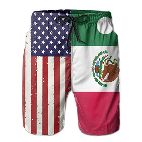 Mexican and American Flag Men's Swim Trunks Quick Dry Bathing Suits Beach Holiday Party Swim Shorts White