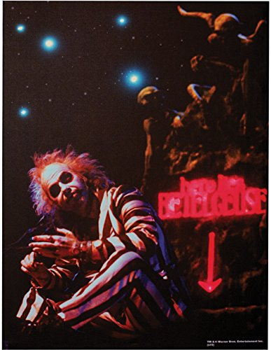 [Morbid Enterprises Beetle Juice Light Up Portrait, Red/Black/White/Brown, One Size] (Iconic Movie Characters Costumes)