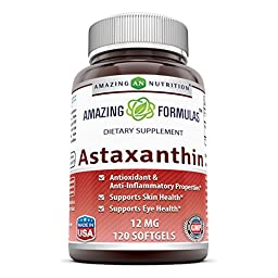 Amazing Formulas Astaxanthin Dietary Supplement - 12Mg - 120 Softgels - Promotes Healthy Skin & Eyes - Powerful Antioxidant - Anti-Inflammatory Properties*