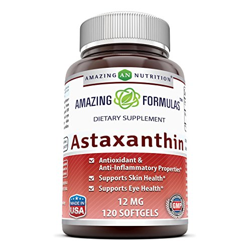 Amazing Formulas Astaxanthin Dietary Supplement - 12Mg - 120 Softgels - Promotes Healthy Skin & Eyes - Powerful Antioxidant - Anti-Inflammatory Properties*