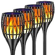 #LightningDeal Ollivage Solar Torch Light, Waterproof Flickering Flames Torches Lights 42.9inch