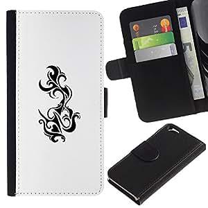 Be Good Phone Accessory // Caso del tirón Billetera de Cuero Titular de la tarjeta Carcasa Funda de Protección para Apple Iphone 6 4.7 // Decal Art White Black Tail Tattoo