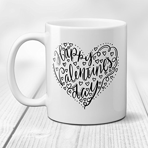 Mug Black Chick - Happy Valentine's Day in Heart Ceramic Coffee Mug Black and White 11 or 15 oz.