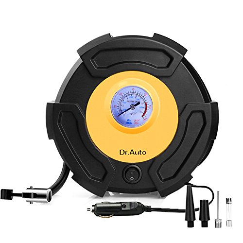 Float 10ft Cord (Dr.Auto Heavy Duty 12V Car Tire Inflator,Max 130PSI Air compressor Pump with Gauge. 10ft Wrappable Power Cord and 3 Extra Nozzle for Ball, Bike, Airbed, Motorcycle etc.)