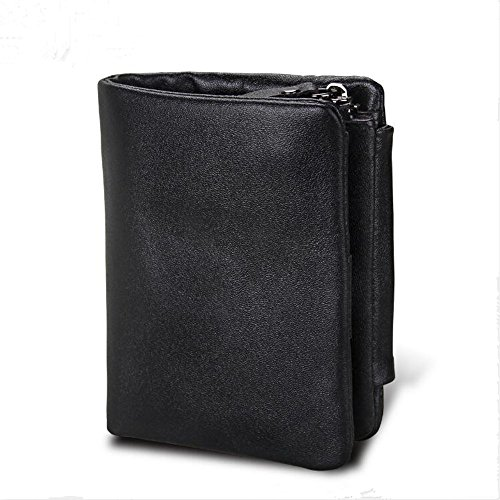 Genuine Leather Men's Wallet Anti-RFID No Box (Black) (Leather Wallet Jessica)