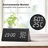 Wooden Alarm Clock, LED Digital Clock with White Backlitght Digit, 3 Levels Adjustable Brightness 3 Groups of Alarm Time, Voice Control and Display Time, Date, Temperature and Humidity for Home