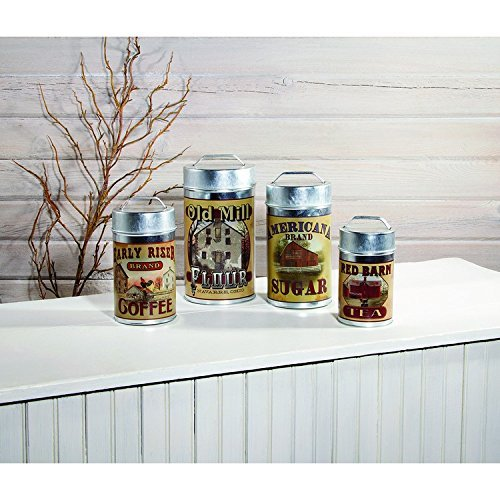 RETRO GALVANIZED FOOD SAFE CANISTERS SET OF 4