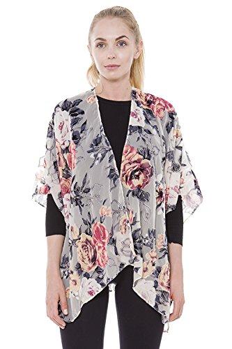 BYOS Boho Stylish Semi Sheer Mesh Open Front Burnout Floral & Paisley Print Velvet Kimono Cardigan Robe (Ivory W/ Bold Rosy Glitter Line Floral) ()