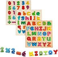Jamohom Wooden Puzzles for Toddlers, Lower Case Letter and Number Puzzles Toddler Learning Puzzle Board Early Educational...