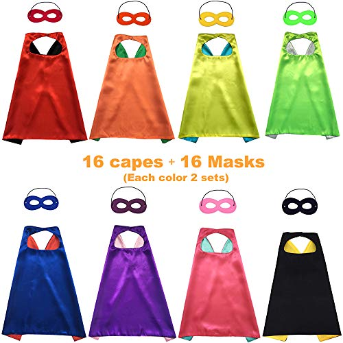 Siiziitoo Double Side Superhero Capes for Kids DIY Capes and Masks Set for Themed Birthday Party Dress Up Costumes Party Supplies (16 Pack) -