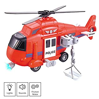 "Vokodo Fire Rescue Helicopter 11"" With Lights Sounds Push And Go Includes Cargo Basket Durable Kids Firefighter Friction Chopper Toy Pretend Play Airplane Truck Great Gift Children Boys Girls Toddlers"