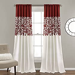 "Lush Decor Estate Garden Print Room Darkening Window Curtain Panel Pair, 84"" x 52"", Red"