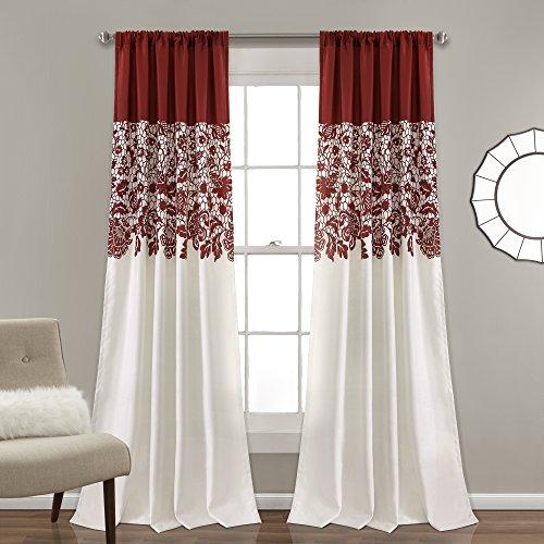 """Lush Decor Estate Garden Print Room Darkening Window Curtain Panel Pair, 84"""" x 52"""", Red"""