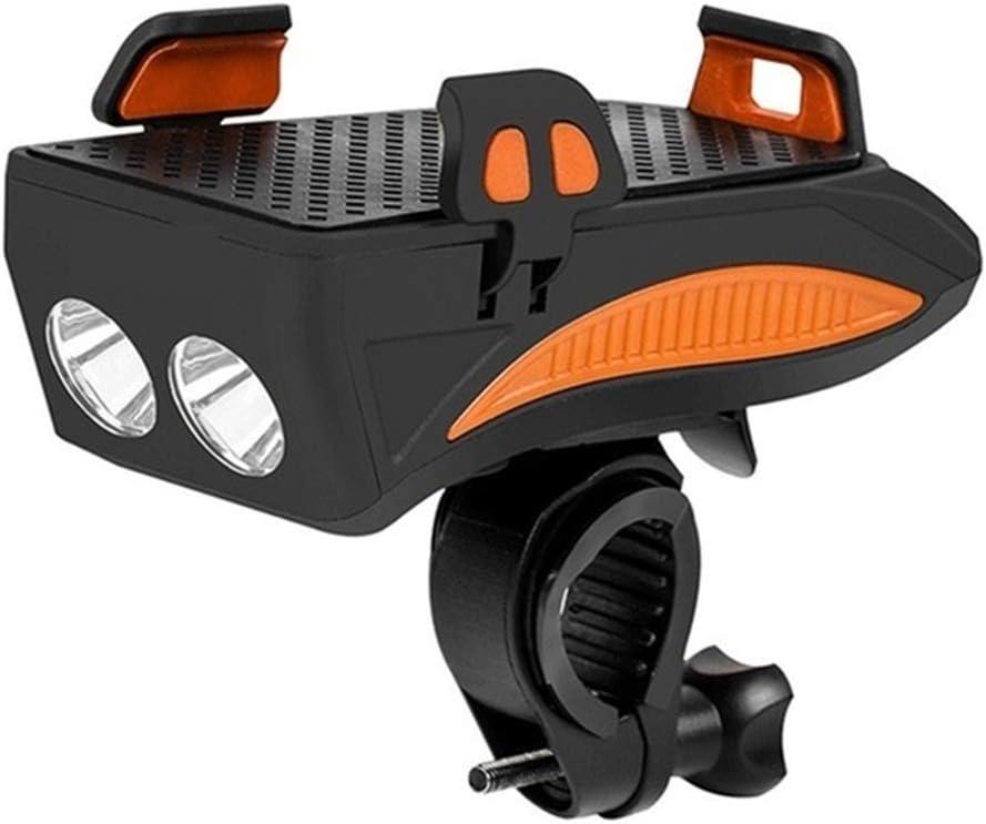 luces de bicicleta USB recargable 4 en 1 multifunci/ón Faro de bicicleta con soporte para tel/éfono m/óvil 4000 MAH Power Bank 130 dB Altavoz 400 l/úmenes IPX65 a prueba de agua Faro de bicicleta