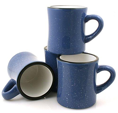 Marble Creek Ceramic Diner Campfire Mugs, 10oz, Set of 4 (Sky Blue) (Blue Mug Sky)