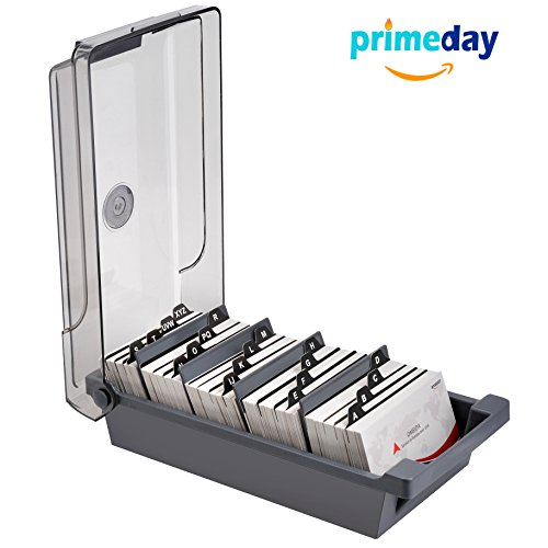 MaxGear Business Card Holder Box Business Card File Card Storage Box Organizer, Large Capacity for 500 2.2
