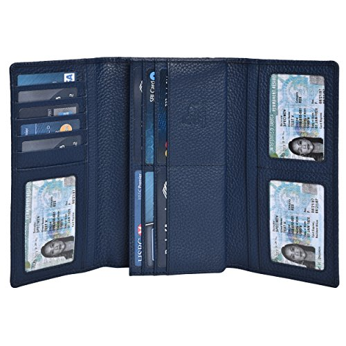RFID Leather Checkbook Wallets for Women -Credit Card Slots Clutch Womens Coin Purse with ID Window Estalon