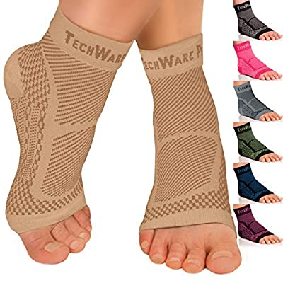 TechWare Pro Ankle Brace Compression Sleeve - Relieves Achilles Tendonitis, Joint Pain. Plantar Fasciitis Foot Sock Arch Support Reduces Swelling & Heel Spur Pain. Injury Recovery Sports
