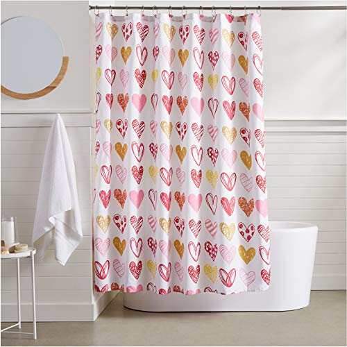 AmazonBasics Sweetheart Shower Curtain - Heart Shower Curtain