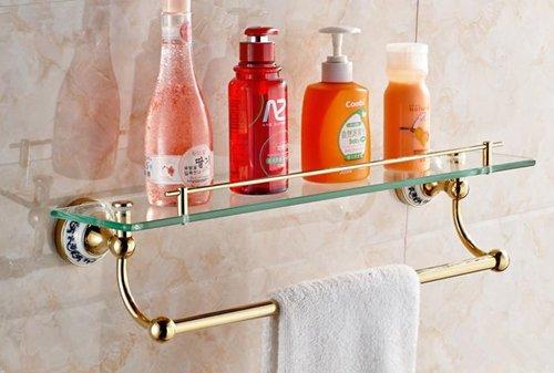 TACCY Single Bathroom Glass Shelf with Two Gold Finish Brackets Brass made Toughened Safety Mounted Glass shelf #MK01A