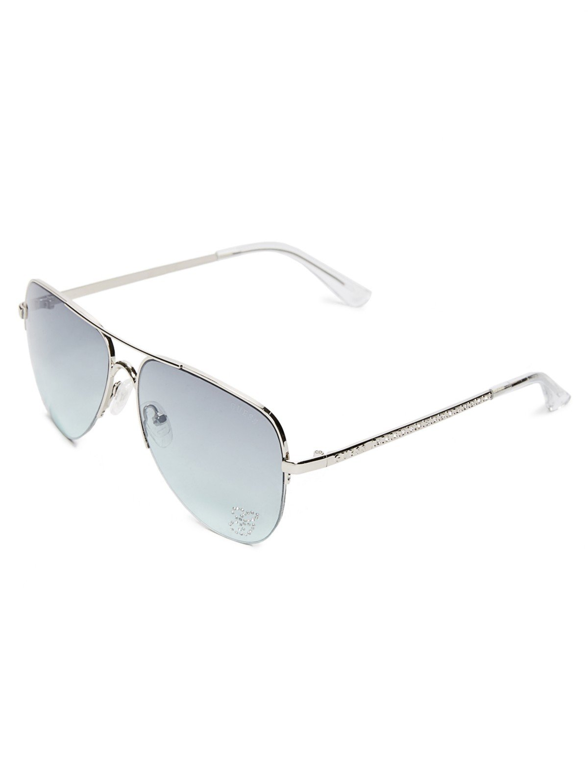 b0533f2f4ba GUESS Factory Women s Women s Sparkle Metal Aviator Sunglasses