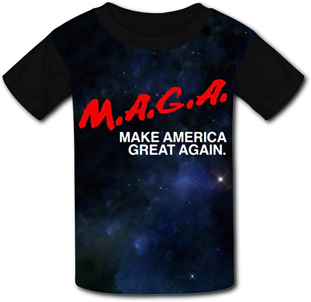 Knwazz Kids T-Shirts MAGA Make American Great Again Cool 3D Printed Short Sleeve Top Tees for Boys Girls