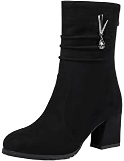 Women's Stylish Faux Suede Pendant Round Toe Medium Chunky Heel Slouchy Mid Calf Boots with Back Zipper