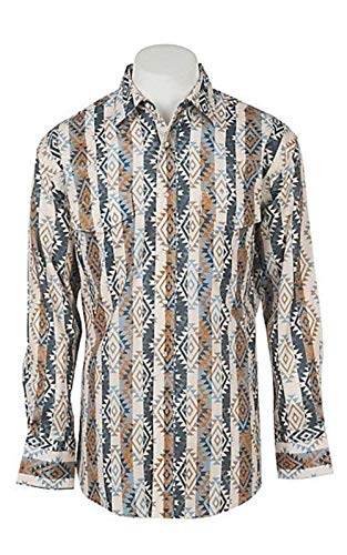 Wrangler Men's Tan Checotah Aztec Print Long Sleeve Western Snap Shirt