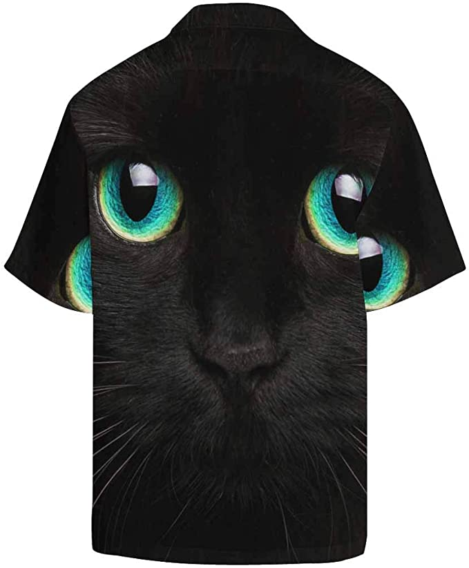Black Cat Tropical Short Sleeve Button Hawaiian Shirt