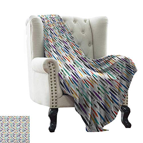 (Anyangeight Feather, Throw Blanket, an Assortment of Colorful Quills Ethnic Aztec Folklore Motifs Bohemian Illustration, Couch Bed Blankets Mini Size, (W60 x L62 Inch Multicolor)