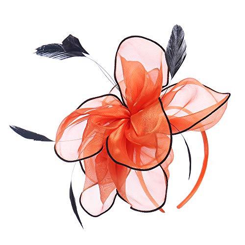 (Felizhouse Flower Feather Fascinator Hats for Women Party Derby W/Headband Clip (Flower Organza Mesh Hat / Halloween)