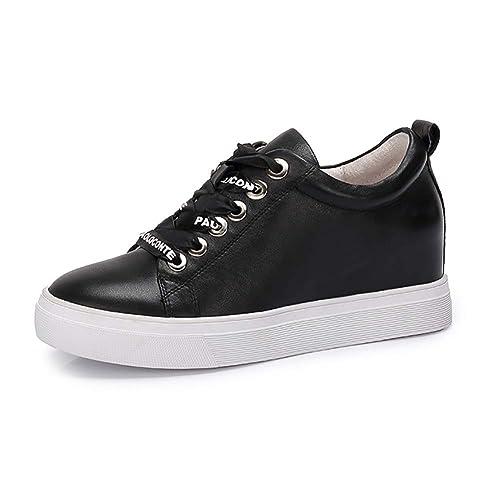 Zapatos De Mujer De Cuero De Otoño Casual Zapatos De Tacón Alto Carta De Encaje  Aumento Dentro De Pequeños Zapatos Blancos Mujer  Amazon.es  Zapatos y ... 51bbf0921baa
