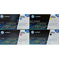 HP 504A Toner Set of 4: CE250A CE251A CE252A CE253A Black Cyan Magenta Yellow for HP Color LaserJet CP3525, CM3530