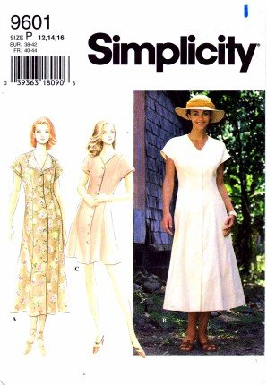 Simplicity 9601 Sewing Pattern Misses Button Front Dress Size 12 - 16 - Bust 34 - 38 (Pattern Dress Front)