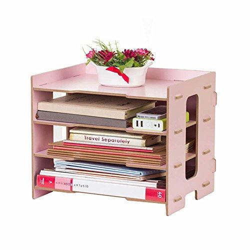 YUMU Rustic Wood Bookshelf Desk Organization for File Folders File Boxes 4 Layers DH1044-03