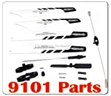 Quick Wear spare Parts(balance bar/connect buckle/main blade grip set/bottom fan clip/inner shaft/Tail Rotor of RC Helicopter 9101 + Main Blade A B 9101-04