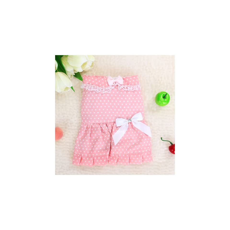 Pink Dress Skirt Apparel Clothes w/ Dot for Pet Dog   XS